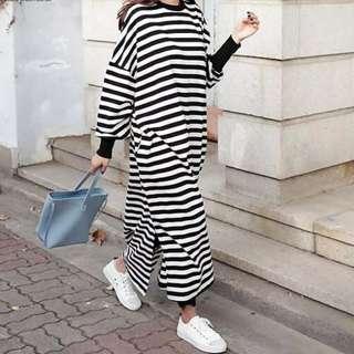 Striped black casual oversize maxi dress