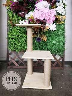 Wooden Cat Condo Tree Scratching 2 Tier Cat Condo tree scratch post kitten climb play toy pole, not cage carrier bag cushion bed