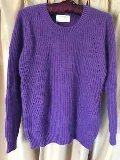 Made in Korea 紫色兔毛毛衣