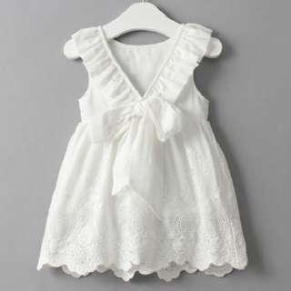🚚 White Ribbon Design Lace Dress for Little Girl (NCD 021)