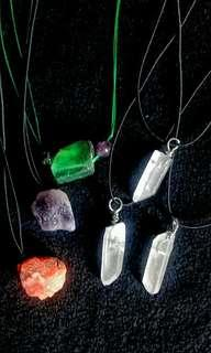 Raw pendants Carnelian, Amethyst, Fluorite, Clear Quartz with cords (price per pendant)
