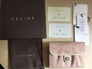 Celine 專櫃正品皮夾 櫻花粉色Logo中夾 夾層多可放零錢 真品 歐美名媛愛用款 情人節聖誕禮物