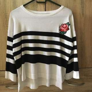Knitted stripe blouse