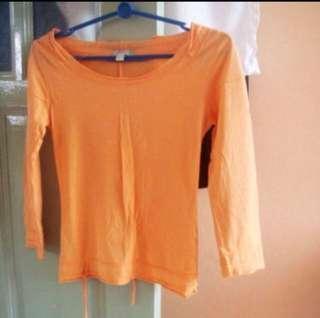 MANGO MNG Spring Orange Raw Hems Ragged Open back BRAND NEW