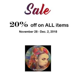 20% of on ALL items!