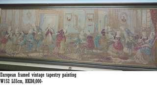 European Vintage framed tapestry picture