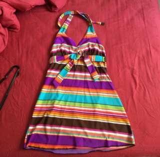 SHEER ROMANCE Swimwear Cheery Stripe Colorful Halter Dress