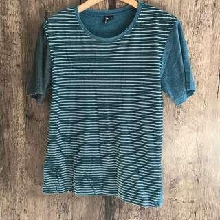 Striped blue grey white color tee