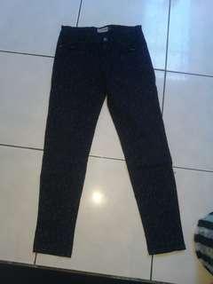 Celana panjang jeans jins denim floral nevada size L