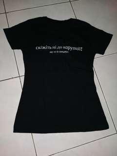 Baju top kaos tshirt anti korupsi bahasa rusia russia