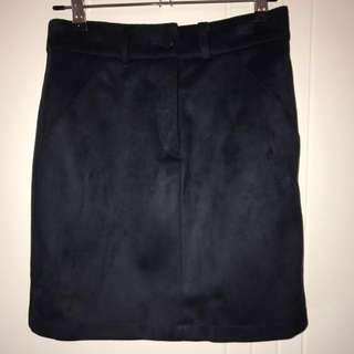 Decjuba Elisha Navy Ink Suedette Mini Skirt Size 8