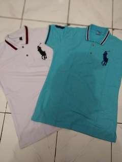 Kaos polo putih biru