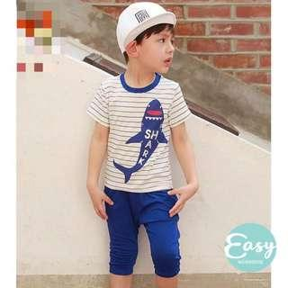 Kids Boys Summer Casual Shark Cartoon Shirt +Pants 2pc Set