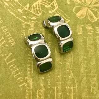 🚚 #Next30 BN: green Milano glass silver body earrings