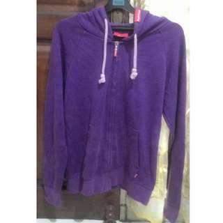 Jaket Zip Hoodie Supreme Purple made in Canada, kondisi ajib
