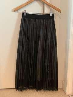 Black pleated shiny mid length skirt free size