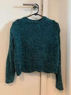 Green soft wool jumper Zara free size