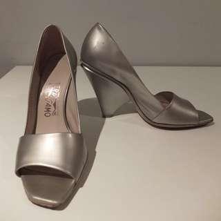 Ferragamo Silver Heels