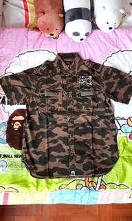 Brand New Bape A Bathing Ape 1st Green Camo Military Shirt.