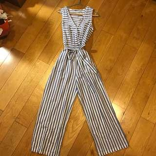 Mango Striped Jumpsuit Blue and White