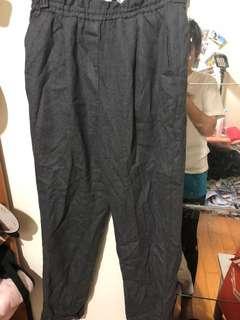 日本製鐵灰色薄毛料老爺褲 腰圍鬆緊