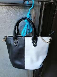 Black with white bag