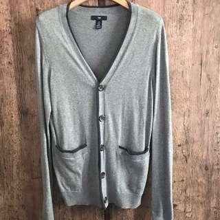 Mid grey with blue tipping knitted cardigan