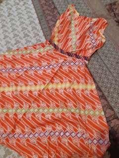 Orange batik dress