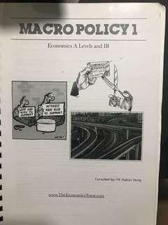 A level H2 Economics Notes on Macro Policy compiled by Kelvin Hong