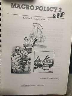 A level H2 Economics Notes on Macro policy and BOP compiled by Kelvin Hong