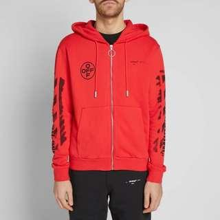 SS19 - Off White Diagonal Stencil Zipped Hoodie (Red)