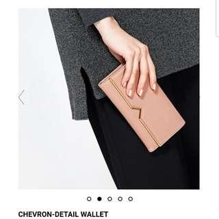 Authentic Charles & Keith Chevron-Detail Long Wallet