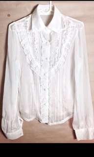 🚚 韓 荷葉氣質白襯衫