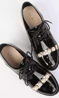 🇮🇹 COLIAC black patent leather derby shoes