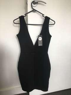 Boohoo Black Plunge Bodycon Dress