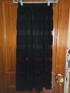 🚚 全新腰頭鬆緊黑蕾絲花紋長百折裙