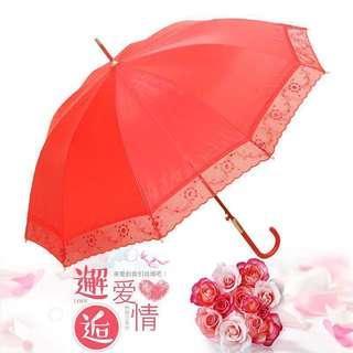 Wedding Red Lace Umbrella fetch the bride