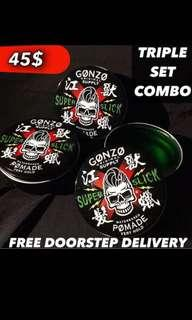 Free Doorstep Delivery 📦 [Triple Set Pomades-Gonzo Super Slick Pomade Stronghold Waterbased]