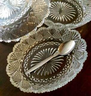 Vintage Oval Depressed Glass Serving Dish