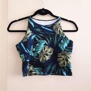 Tropical Leaves crop top (American Apparel)