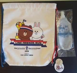 Line friends run 全新索袋連運動水袋Brown Cony 熊大 兔兔