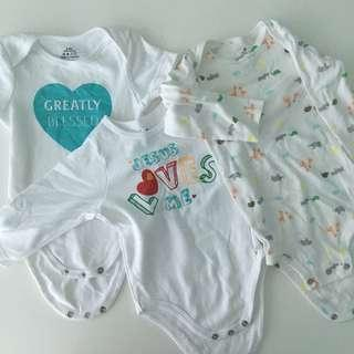 3 pcs Jesus Loves Me and Carter's Baby Romper