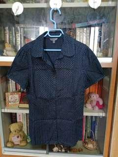 G2000 ladies dark blue polka dot blouse size 7