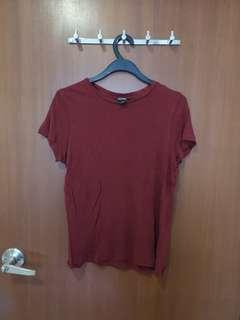 🚚 #SpringCleanAndCarouSell50 Monki Maroon wine red basic blouse top