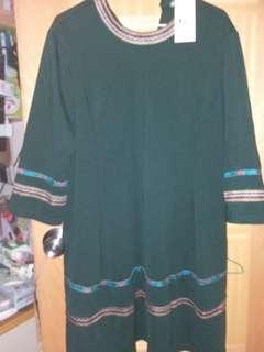 墨綠色長身裙