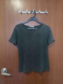 🚚 #SpringCleanAndCarouSell50 Zara acid washed slate grey t shirt blouse
