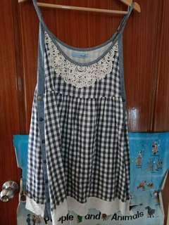🚚 Tparts專櫃品牌格子拼接蕾絲布洋裝