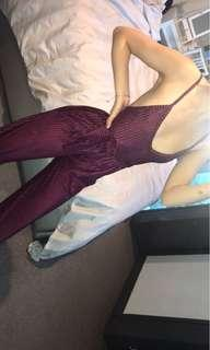PLT burgundy jumpsuit