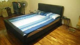 Queen size leather bedframe and mattress