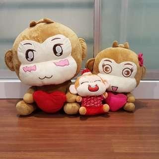 Monkey Family Soft Toy